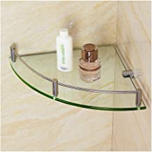 Corner Tempered Glass Shelf Bathroom Shelves 250MM Diameter 7MM Thickness Glass with Space Aluminum All Accessories 02.05...