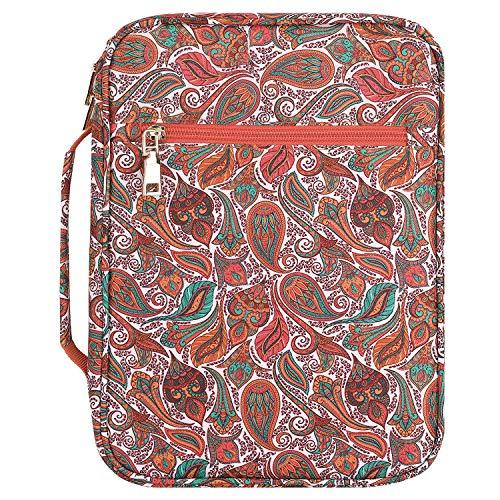 MoKo Bibelhülle, Buchumschlag Hülle für Bibel in Standardgröße Reißverschluss Tragetasche Handtasche mit Griff Lesezeichen Geschenk für Männer Frauen, 10 x 7.5 x 2.5 Zoll - Farbig Cashewnuß