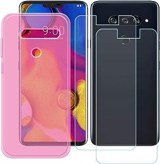 YZKJ Fodral för LG V40 ThinQ Cover rosa silikon skyddande skal TPU skal skal skal skal + 2 stycken pansarglas skärmskydd f...