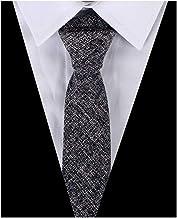 Men`s Skinny Wedding Ties Causal Cotton Linen Solid Color Dress Slim cut Necktie
