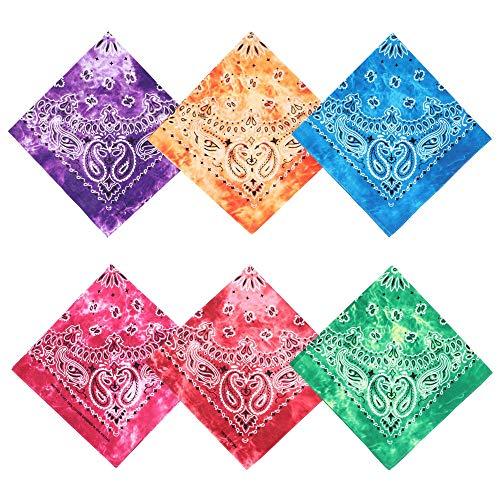 12 stks/set Nek Sjaal Zakdoek Bandana Mode Katoen Outdoor Decoratie Haarband Print Sjaal Paisley Vierkante Sjaals Tie-dyed