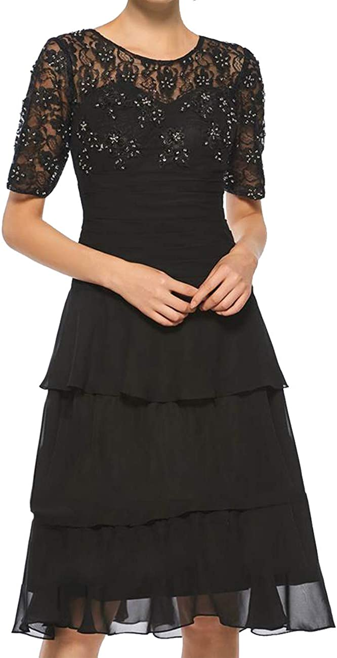 Mother of The Bride Dresses Tiered Short Evening Party Dresses Lace Short Sleeve