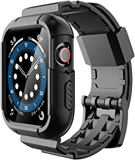 Simpeak Protective Case with Band Compatible with Apple Watch 44mm 42mm, Shock Proof Soft Silicone Rugged Sport Band Case ...