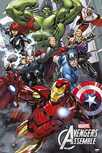 empireposter Avengers - Assemble - Cartoon Comic Poster Plakat Druck Hulk Spider Man Captain America Fantastic Four 61x91,5 cm