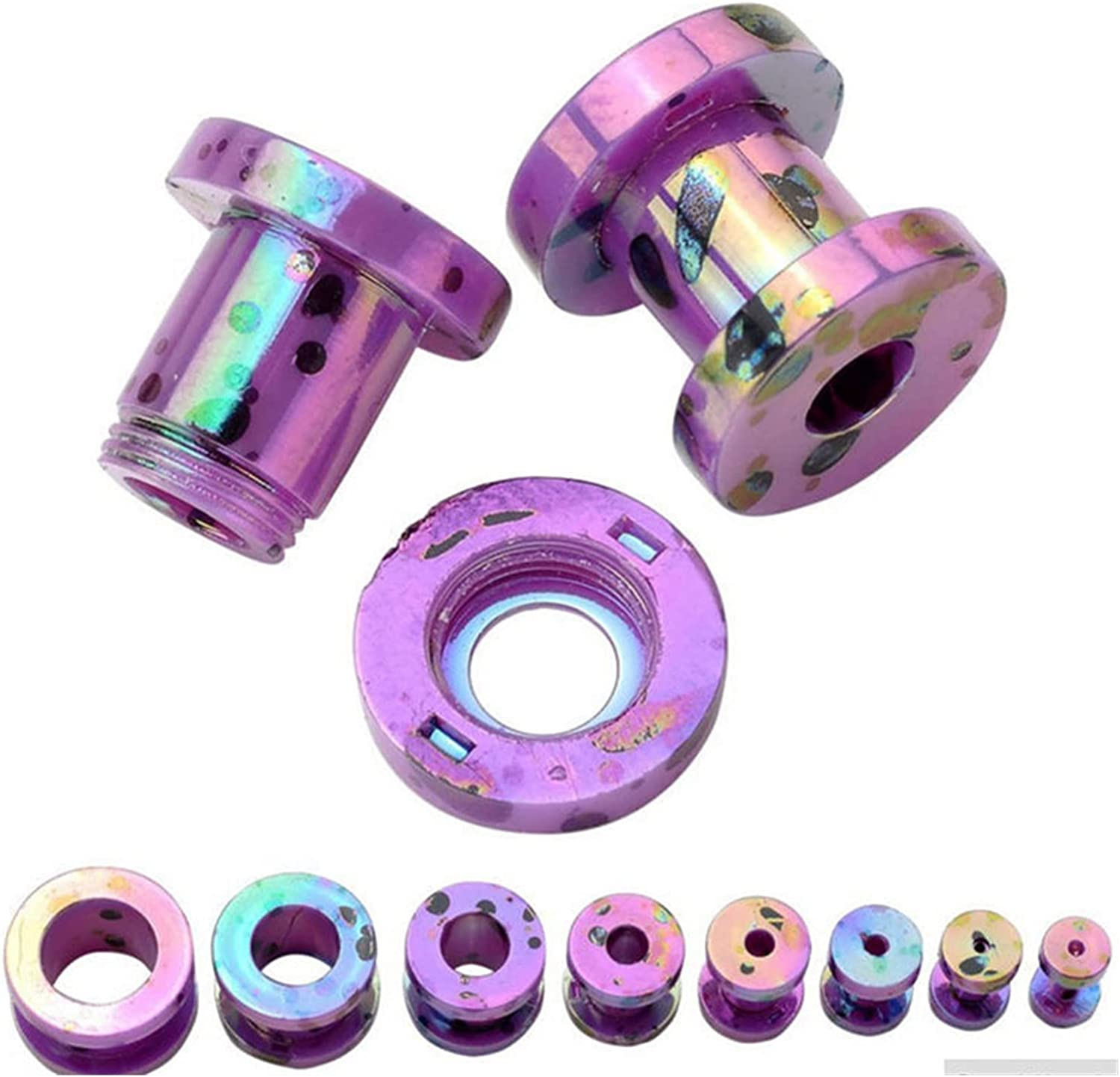 QWERBAM 1 Pair Ear Piercing Ring Body Jewelry Stretchers Acrylic Tunnels Plugs Expanders Gauges for Women Men Ear Expansion (Main Stone Color : 2mm, Metal Color : Purple)
