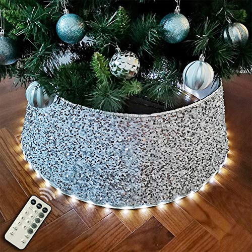 Halo Christmas tree skirt/ Tree Collar/Base Cover/Tree Bottom Cover Dismountable with Programmable LED Lights - Silver Velvet & Sequin 30 Inch.