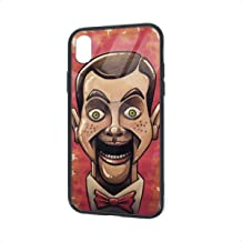 Tempered Glass Back iPhone XR Cases, Soft TPU Accurate Cutouts Pretty Bumper, Shockproof Anti-Finger Thin Protective Case Cover for iPhone XR, Slappy The Dummy Goosebumps Characters Drawing