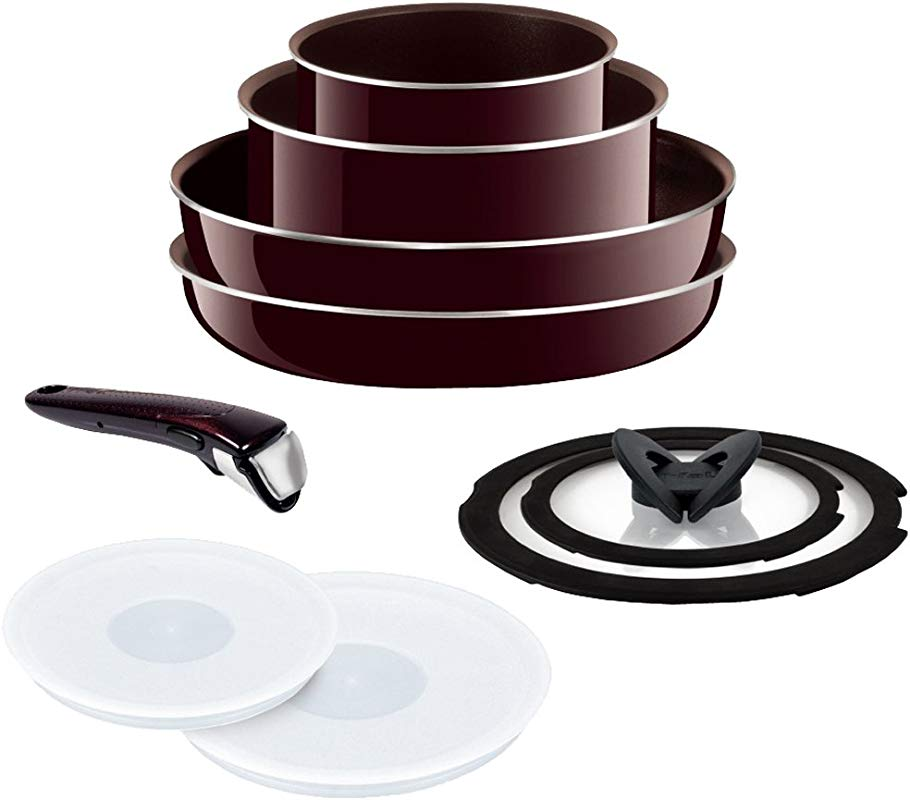 T FAL Frying Pan 9 Point Set Detachable Handle Ingenio Neo Mahogany Premier Set With A Lid 9 Gas Fire Heater Dedicated L63191