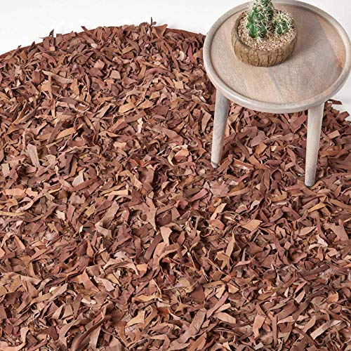 HOMESCAPES runder Lederteppich Dallas (150cm), Fransenteppich aus 100% Echtleder, moderner Shaggy-/Hochflor-Teppich, Hellbraun