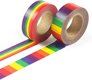 FUXU 1PC Color Tape Rainbow Washi Tape School Supplies Stationery Tape Office Stationery 15mm Rainbow Tape
