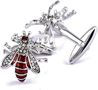 Aooaz Cufflinks Unique Bee Cubic Zirconia Cufflinks Shirts Red