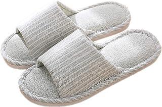 Fankle Unisex Slippers Women's Men's Couple Comfort Household Shoes Indoor Anti-Skid Striped Linen Breathable Bedroom Flip Flops