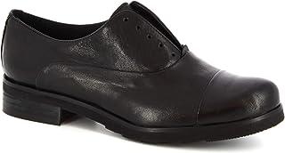 Leonardo Shoes Scarpe Francesine Donna Senza Lacci Fatte a Mano Pelle Nera - Codice Modello: 1914 ROK Nero