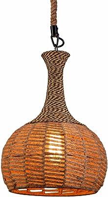 L/ámpara de techo mimbre, 60 W, 33 x 54 cm color negro Lussiol 250275