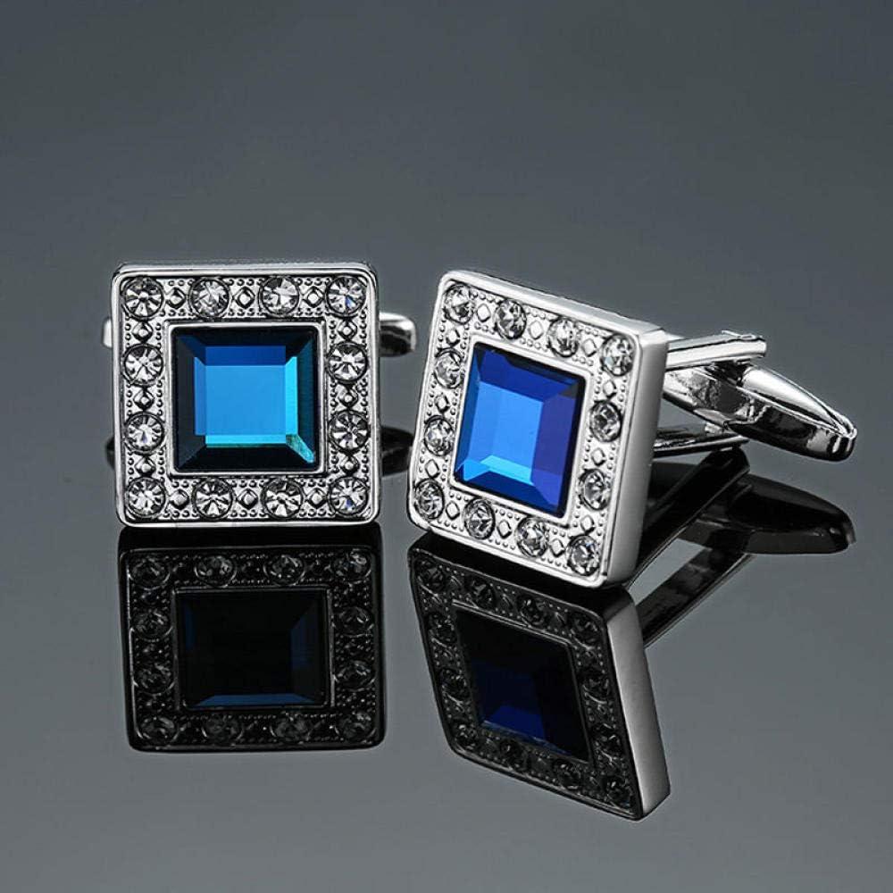 WOYAO Mens Cufflinks Accessories Cufflinks and Studs High-End Men S Jewelry Luxury Design Level Hourglass Blue Crystal Cufflinks Men S French Shirt Cufflinks-F