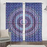 Sophia-Art Juego de cortinas para ventana de cocina con estampado de mandala indio, juego de cortinas y cenefa, tapiz para dormitorio, decoración de habitación, estilo bohemio, decoración hippie