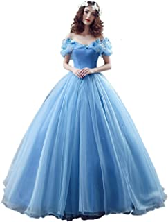Cinderella Prom Dress, Ball Sweep Train Off-The-Shoulder Short Sleeves Evening Party Gown