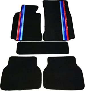 Floor Mat Compatible With 1997-2003 BMW E39 5-Series | Front & Rear Factory M Color Stripe Car Floor Carpets Carpet liner by IKON MOTORSPORTS | 1998 1999 2000 2001 2002