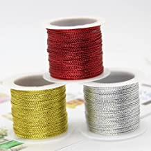 WEDSA 20m/roll 1mm goud zilver rode koorden metallic touw draad string riem cadeau wrap lint koord armband no-slip hang ta...
