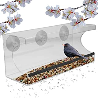 Evelots Window Bird Feeder-See Thru-12 Inch-3 Strong Suction Cups-Drain Holes