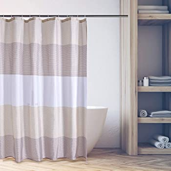 Sizes 120//180//240 12 Hooks Rings Fabric Bath//Shower Curtain Water Repellent