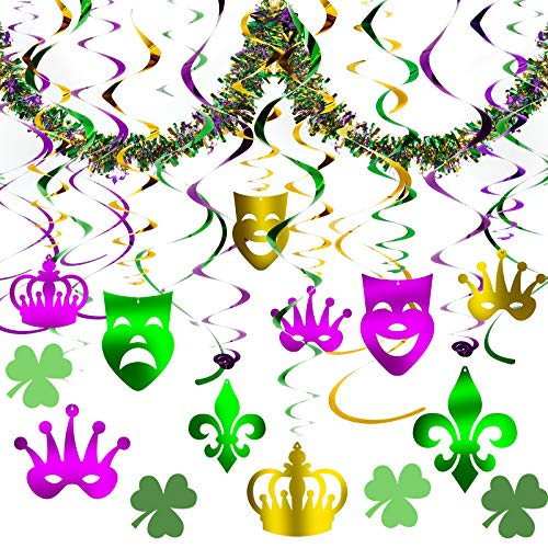 Mardi Gras Decorations Accessories,Mardi Gras Hanging Foil Swirls and Strings with Garland, Mardi Gras Ceiling Decor Kit For Carnival St. Patrick's Day Birthday Party Favor Supplies
