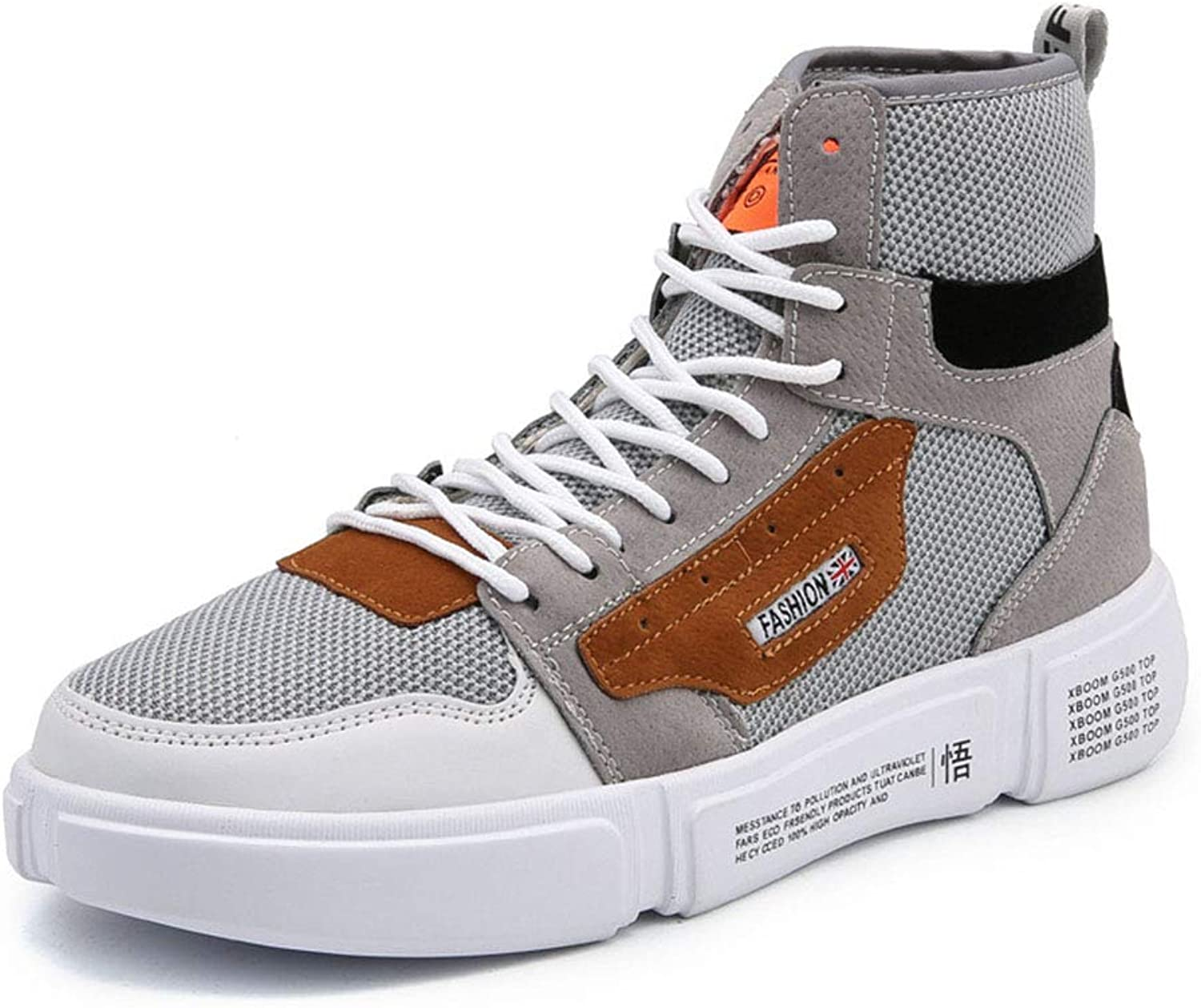 Men's shoes Mesh High-Top Sneakers Fall & Winter New Sports shoes, Fashion Lace Up Deck shoes Outdoor Hiking shoes Trail Running shoes,C,40