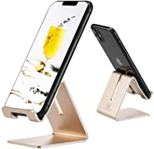 Cell Phone Desk Stand Holder - ToBeoneer Aluminum Desktop Solid Portable Universal Desk Stand for All Mobile Smart Phone Tablet Display Huawei iPhone 7 6 Plus 5 Ipad 2 3 4 Ipad Mini Samsung (Gold)