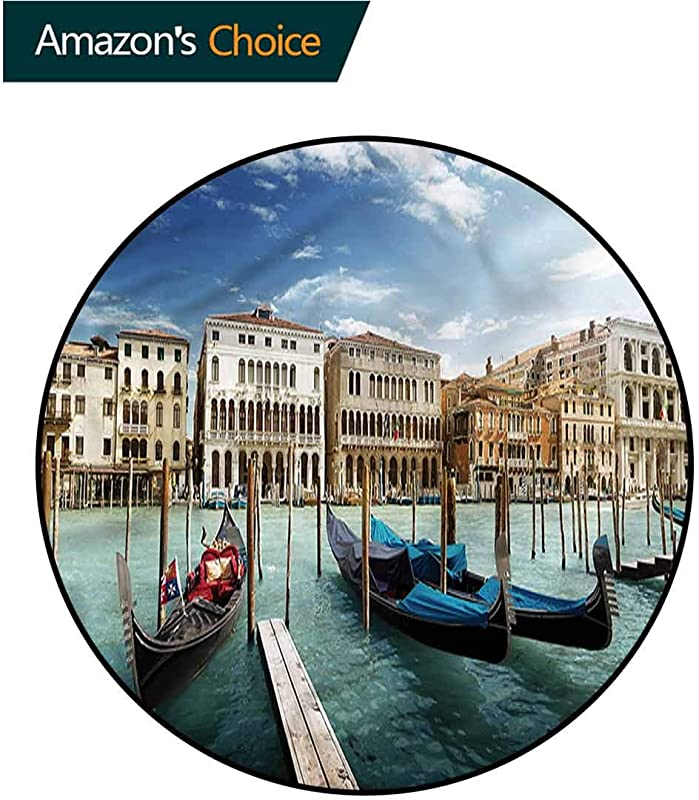 RUGSMAT Italian Machine Washable Round Bath Mat Gondolas Venetian Lagoon Circle Rugs For Living Room Diameter 24