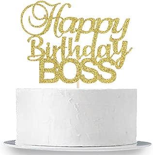 INNORU Happy Birthday Boss Cake Topper, Gold Glitter Baby Boy 1st Birthday,Happy Birthday for Men,Prince Birthday Party Decorations