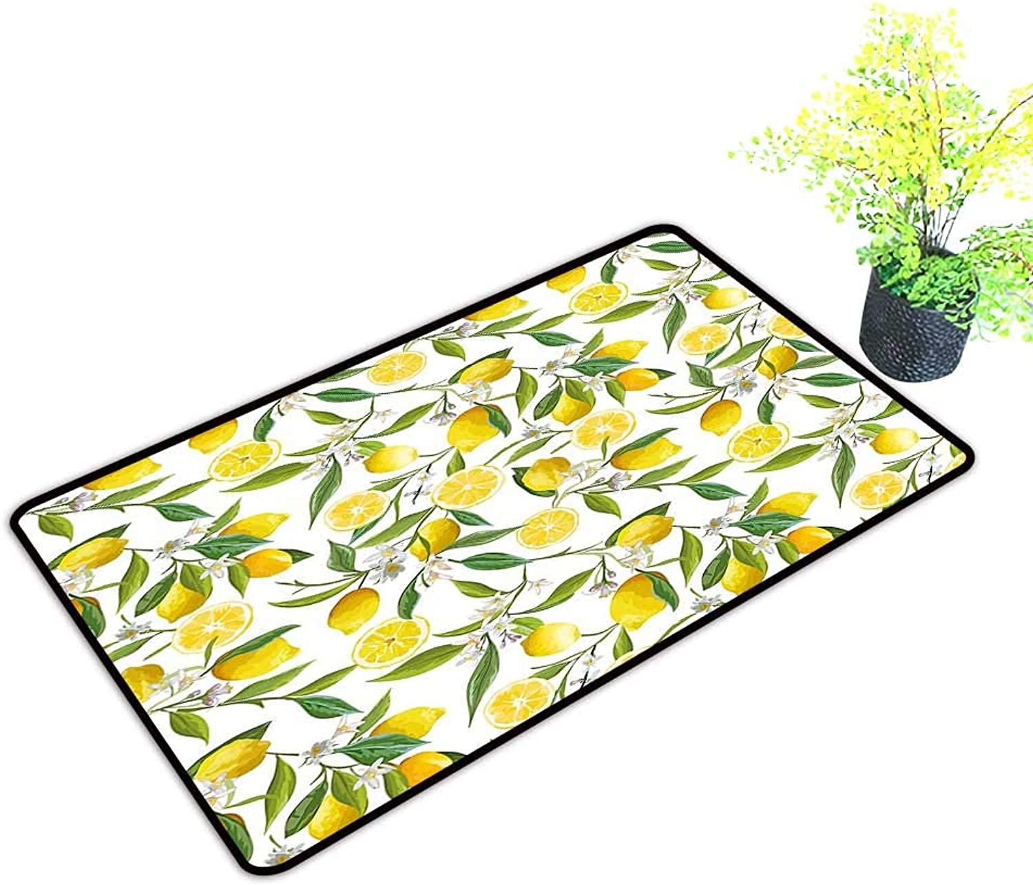 Gmnalahome Extra Thick Door Mat Lemon Tree Branches Yummy Delicious Kitchen Gardening Design Fern Green Yellow White Soak Up Water and Dirt W39 x H19 INCH