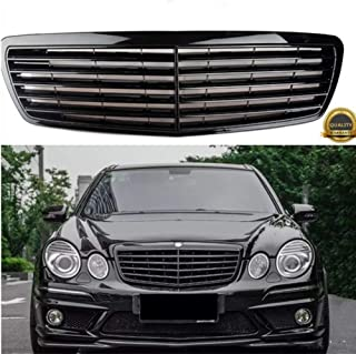 MotorFansClub Black Front Bumper Hood Grille Upper Insert Grill Fit For Compatible With Mercedes Benz W211 E-Class E320 E350 E500 E550 AMG 2002-2006