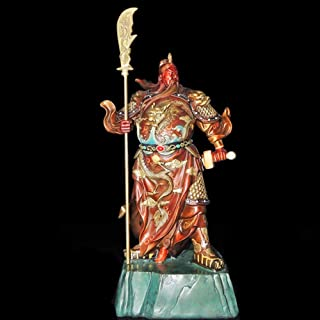JIN MOON Pure Copper Painting Guan Gong, Copper Red Face Guan Gong Statue, Guarding The House Safe, Lucky