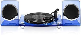 Victrola Modern Acrylic 2-Speed Bluetooth Turntable with 40-Watt Wireless Speakers, Blue