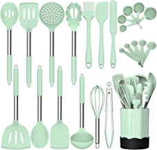 Silicone Cooking Utensil Set, Fungun Non-stick Kitchen Utensil 24 Pcs Cooking Utensils Set, Heat Resistant Cookware, Silicone Kitchen Tools Gift with Stainless Steel Handle - Green