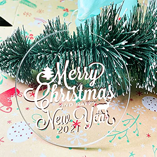 20Pcs 3.5Inch Clear Blank Acrylic Christmas Ornaments 2021 Unfinished Round Acrylic Christmas Ornaments for DIY Craft Hanging Ornaments for Christmas Tree Decoration Xmas Day Home Party Decorations