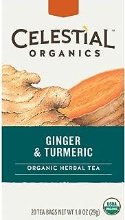 Celestial Seasonings Organics Herbal Tea, Ginger & Turmeric, 20 Count (Pack of 6) (Packaging May Vary)
