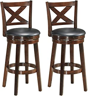 COSTWAY Bar Stools Set of 2, Counter Height Dining Chair, Fabric Upholstered 360 Degree Swivel, PVC Cushioned Seat, Perfect for Dining and Living Room (2Height 29'')