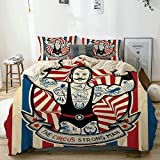 Juego de funda nórdica beige, Circus Nostalgic Icon El hombre fuerte con tatuajes y músculos Circus Star, Juego de cama decorativo de 3 piezas con 2 fundas de almohada Fácil cuidado Anti-alérgico Suav