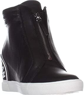 DKNY Womens Connie-Slip On Wed Leather Hight Top Zipper Fashion Sneakers