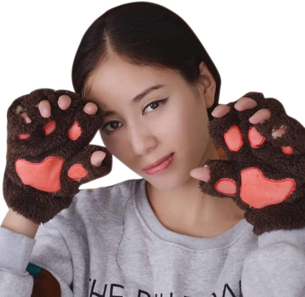 FASGION 2019 Winter Lovely Women Bear Cat Claw Paw Mitten Plush Gloves Short Finger Half Gloves Ladies Half Cover Female Gloves (Color : Brown, Gloves Size : One Size)