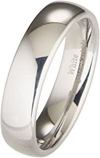 Custom Engraved White Tungsten Carbide Wedding Ring Polished Classic 3mm to 10mm