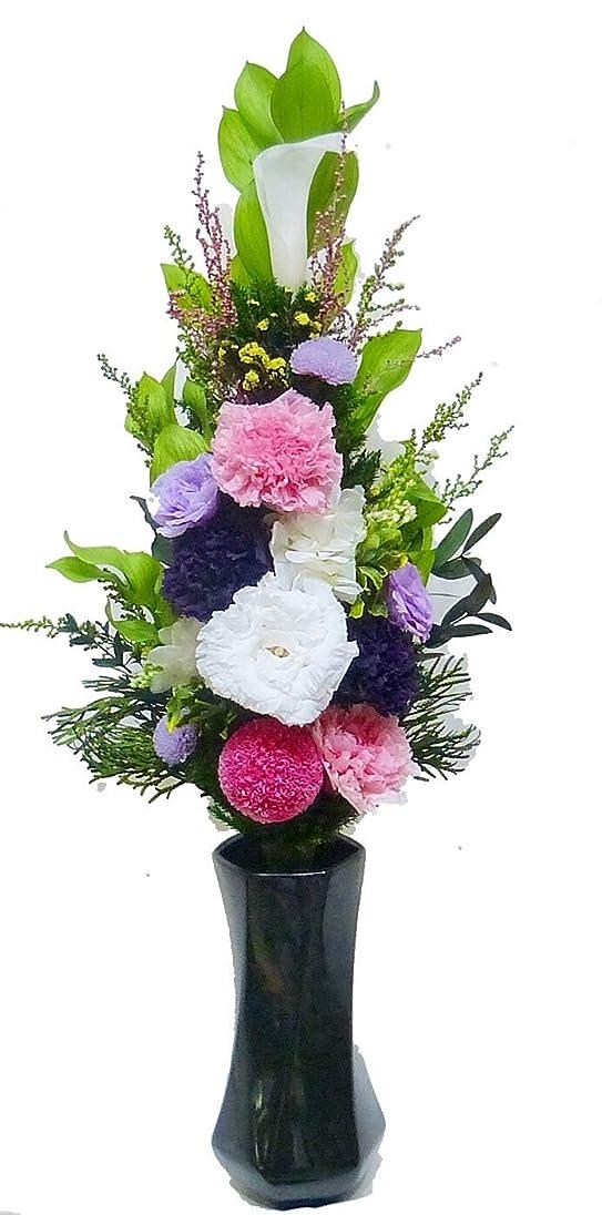 推定慢なチャーミング【仏花倶楽部?】のプリザーブドフラワー仏花:B07BQY6YFD【size L】(お花はもちろん、葉っぱにいたるまで、造花は一切使用しておりません))