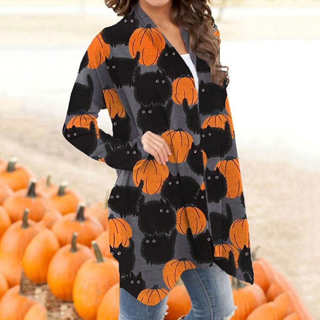 Halloween Costumes for Women,Long Sleeve Open Front Cardigan Funny Pumpkin Black Cat Ghost Lightweight Coat