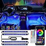 Fahren Interior Car Lights, Car LED Strip Lights with Two-Lines Design, 16 Million Colors, Music Sync, 34 Scene Options, APP/Remote/Control Box Under Dash Car Lighting Kit for Car, DC 12V