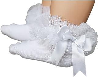 yeahibaby–Calcetines para bebé niña Princesa lazo algodón cortos Calcetines Bebé Chica Bautizo con punta (Color Blanco) blanco Weiß Talla:S