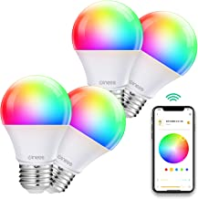 Smart Light Bulbs Work with Alexa and Google Home, WINEES Dimmable Wi-Fi RGBW Smart LED Colour Changing Bulbs APP & Voice&...