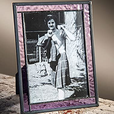 J Devlin Pic 369-57HV 5x7 Picture Frame Purple Stained Glass Photo Easel Back