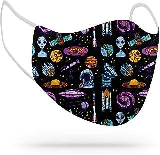 Máscara de Proteção Facial Personalizada Estampada Tecido Reutilizável Lavável Alien Et Galáxia