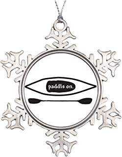 Tlbfresapo6 Tree Branch Decoration Kayak and paddle simple black line art design Snowflake Ornaments For Sale Boating